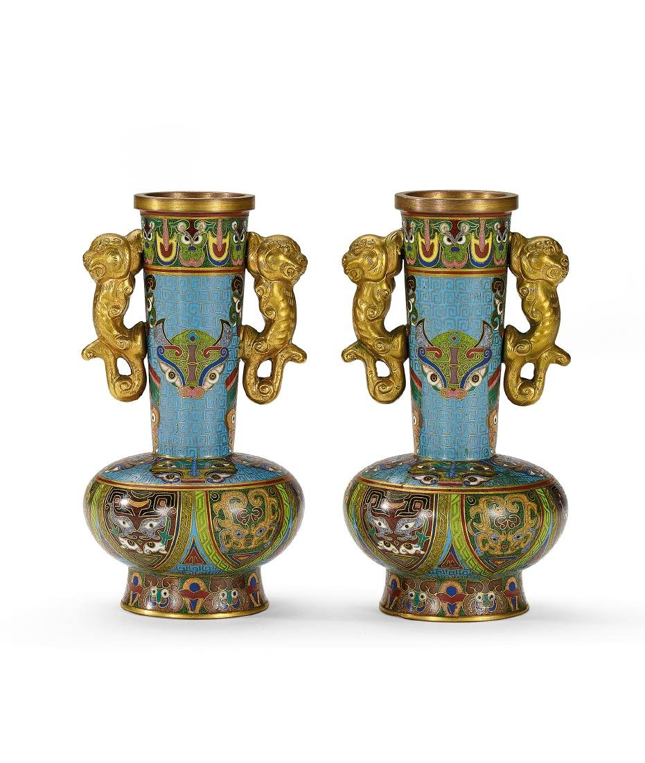 A Pair of Cloisonne Enamel Vases Qing Dynasty,