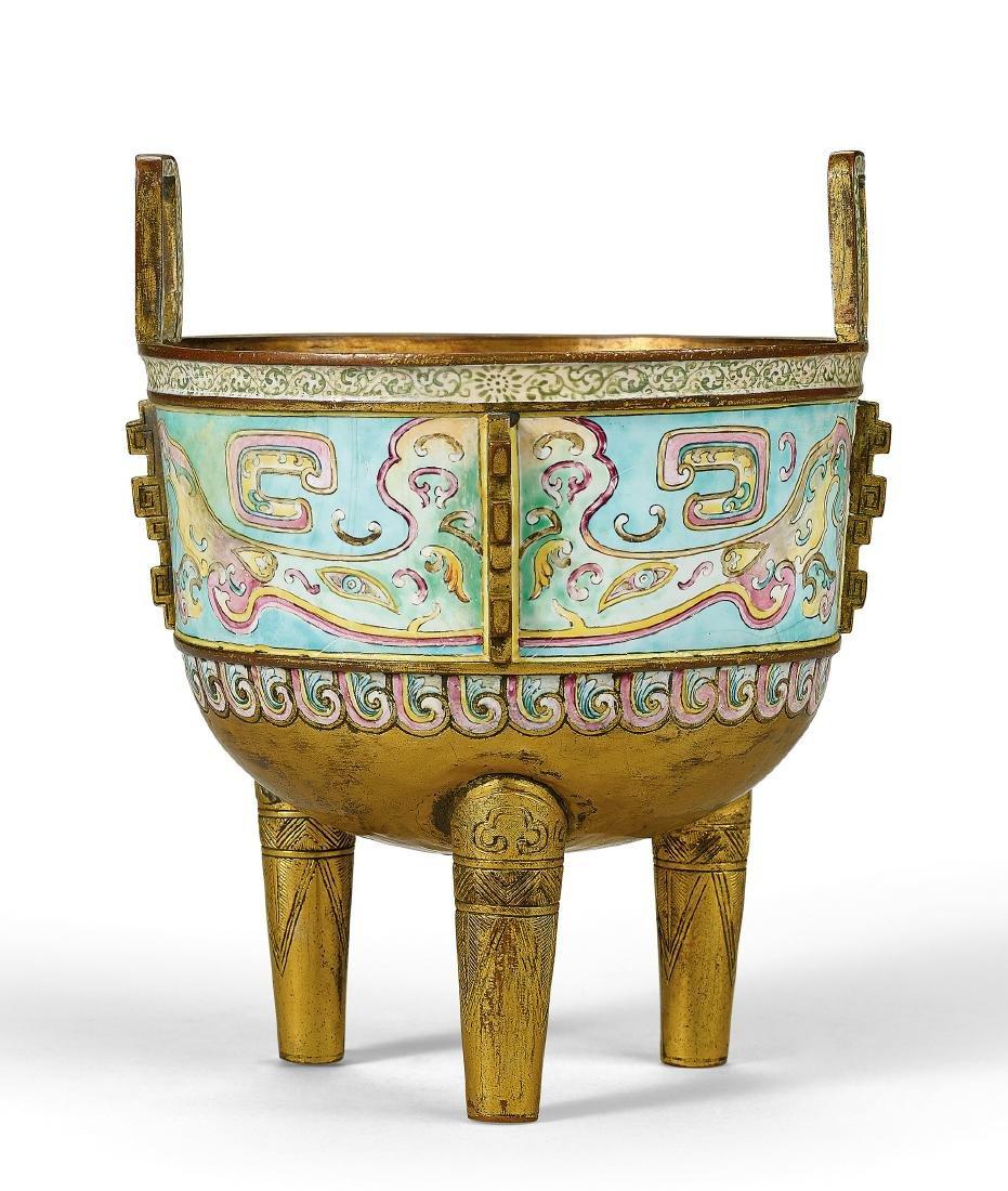 A Rare Gilt-Bronze Painted Enamel Tripod Censer