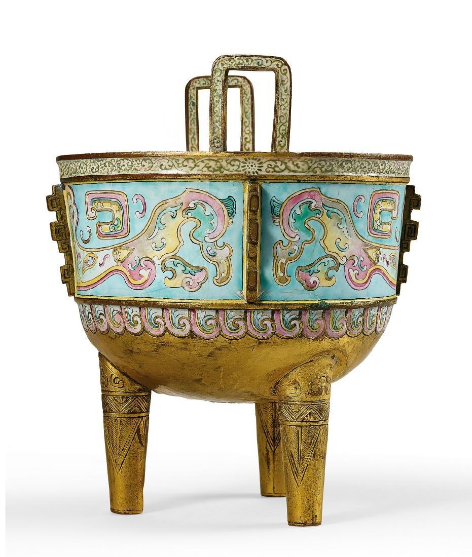 A Rare Gilt-Bronze Painted Enamel Tripod Censer - 2