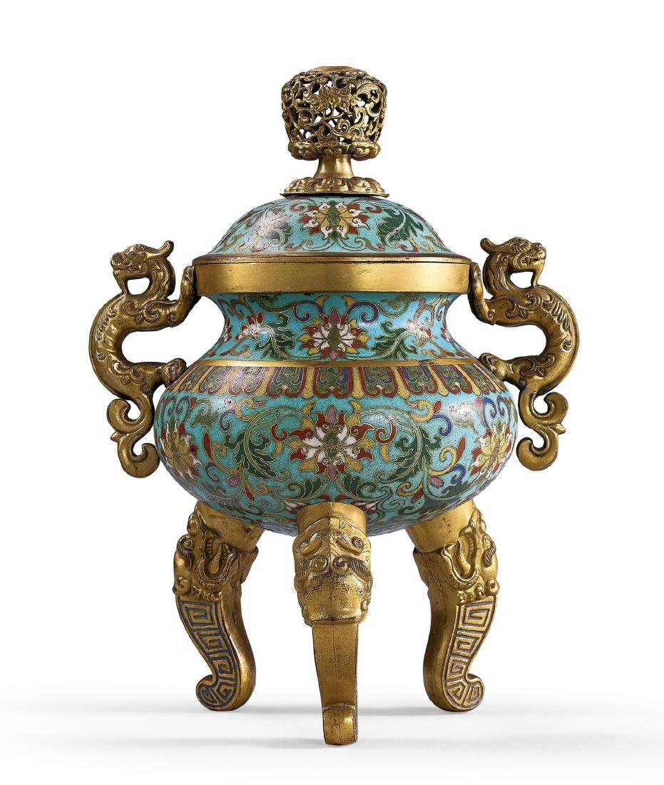 A Gilt-Bronze And Cloisonne Enamel Tripod Censer With