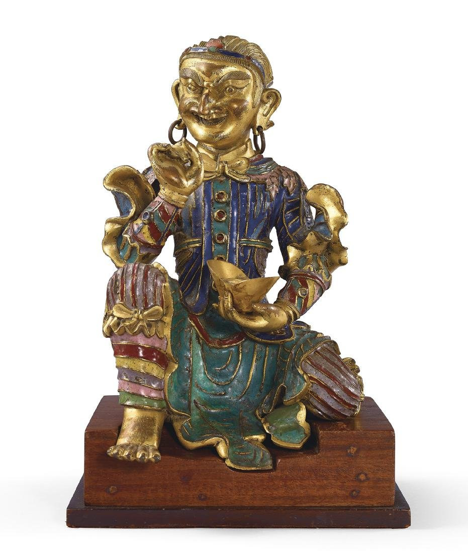 A Very Rare Gilt-Bronze and Champleve Enamel Figure of