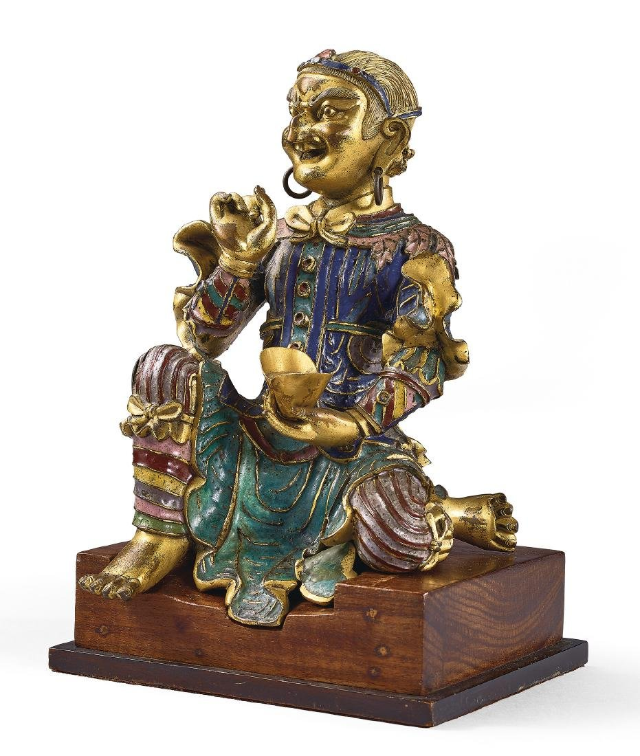 A Very Rare Gilt-Bronze and Champleve Enamel Figure of - 2