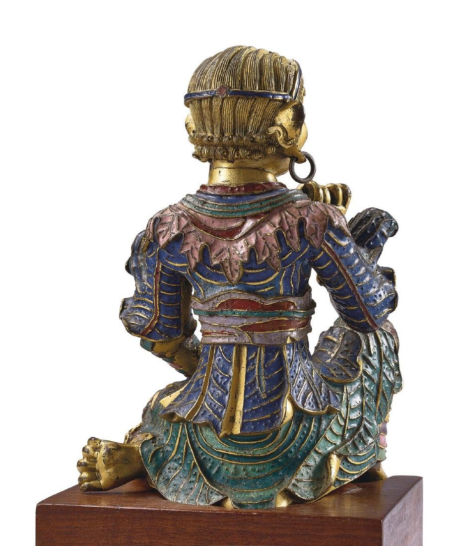 A Very Rare Gilt-Bronze and Champleve Enamel Figure of - 3