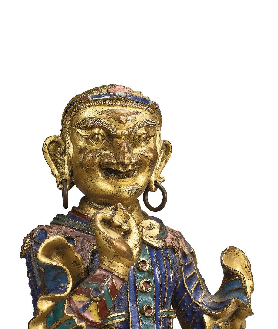 A Very Rare Gilt-Bronze and Champleve Enamel Figure of - 4