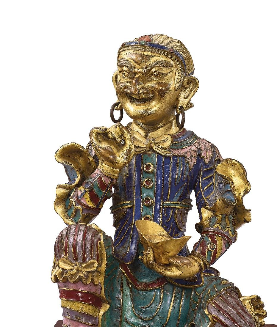 A Very Rare Gilt-Bronze and Champleve Enamel Figure of - 5