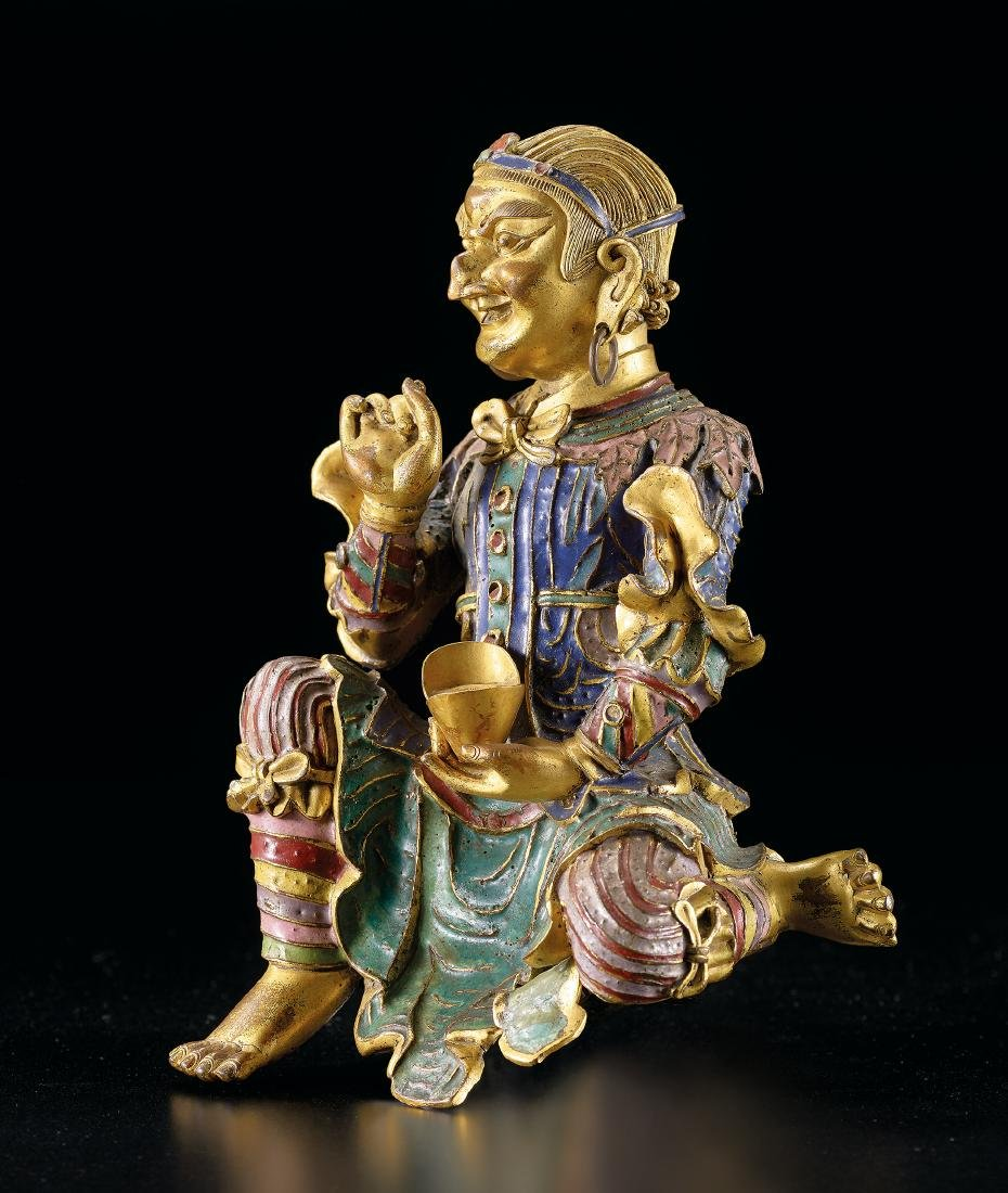 A Very Rare Gilt-Bronze and Champleve Enamel Figure of - 6