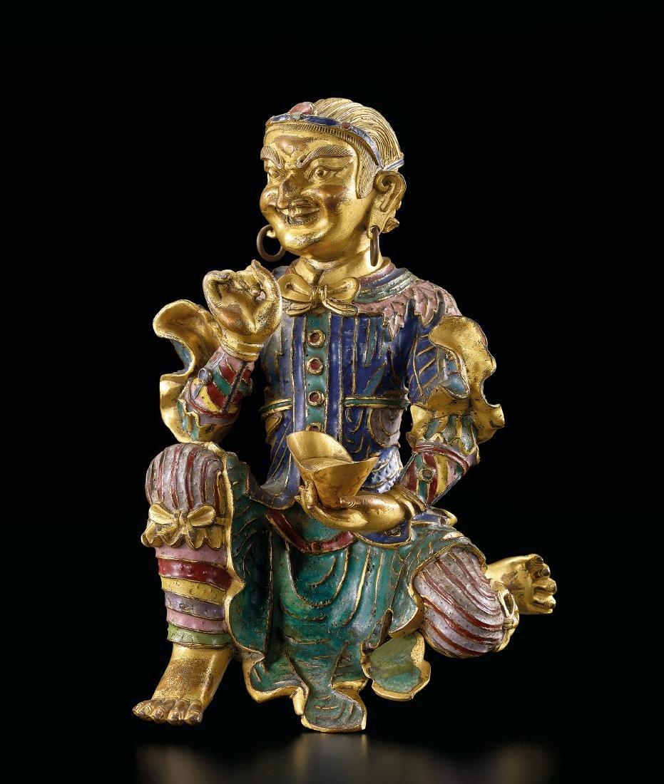 A Very Rare Gilt-Bronze and Champleve Enamel Figure of - 7