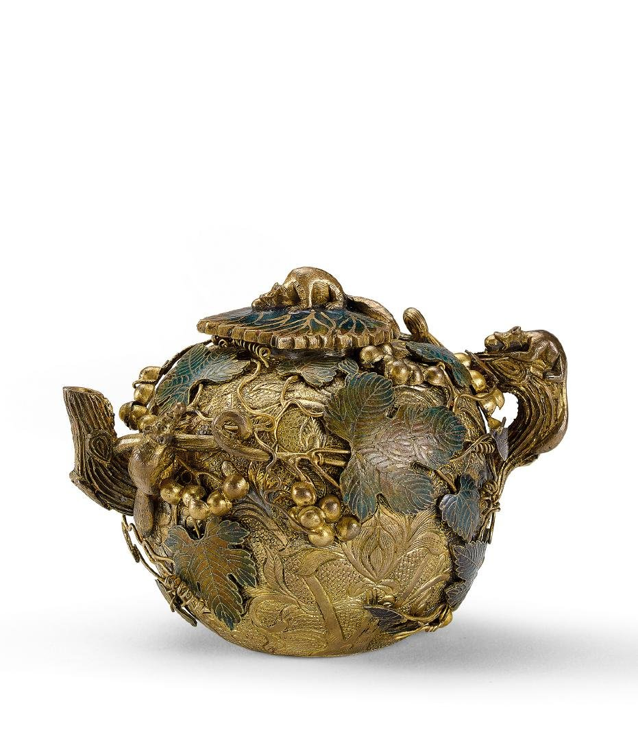 A Gilt-Copper-Alloy and Champleve Enamel Globular