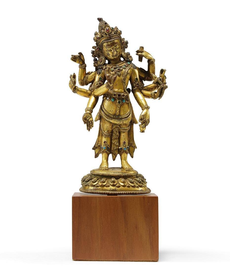 A Fine Gilt-Bronze Figure of Amogapasa 15th