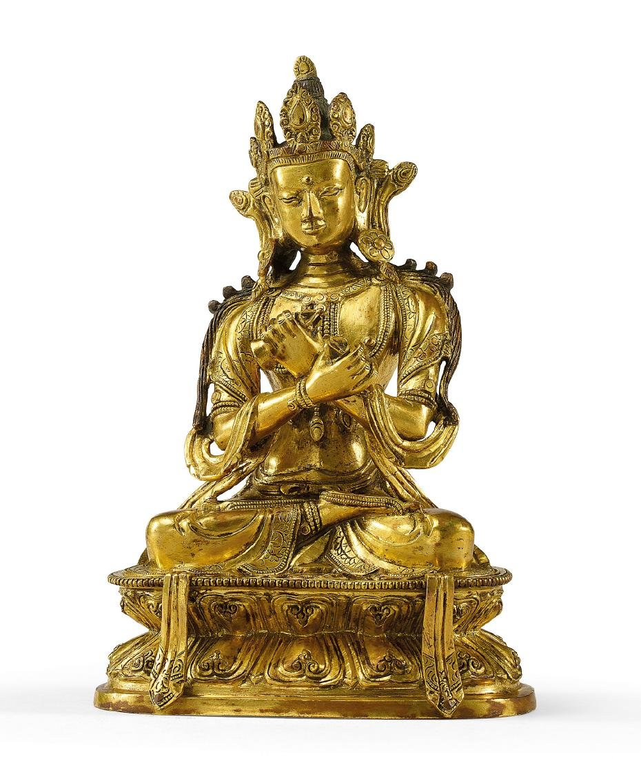 A Fine Gilt-Bronze Figure of Vajradhara 17th