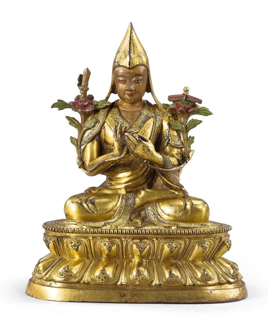 A Fine Gilt-Bronze Figure of Tsongkhapa Qing