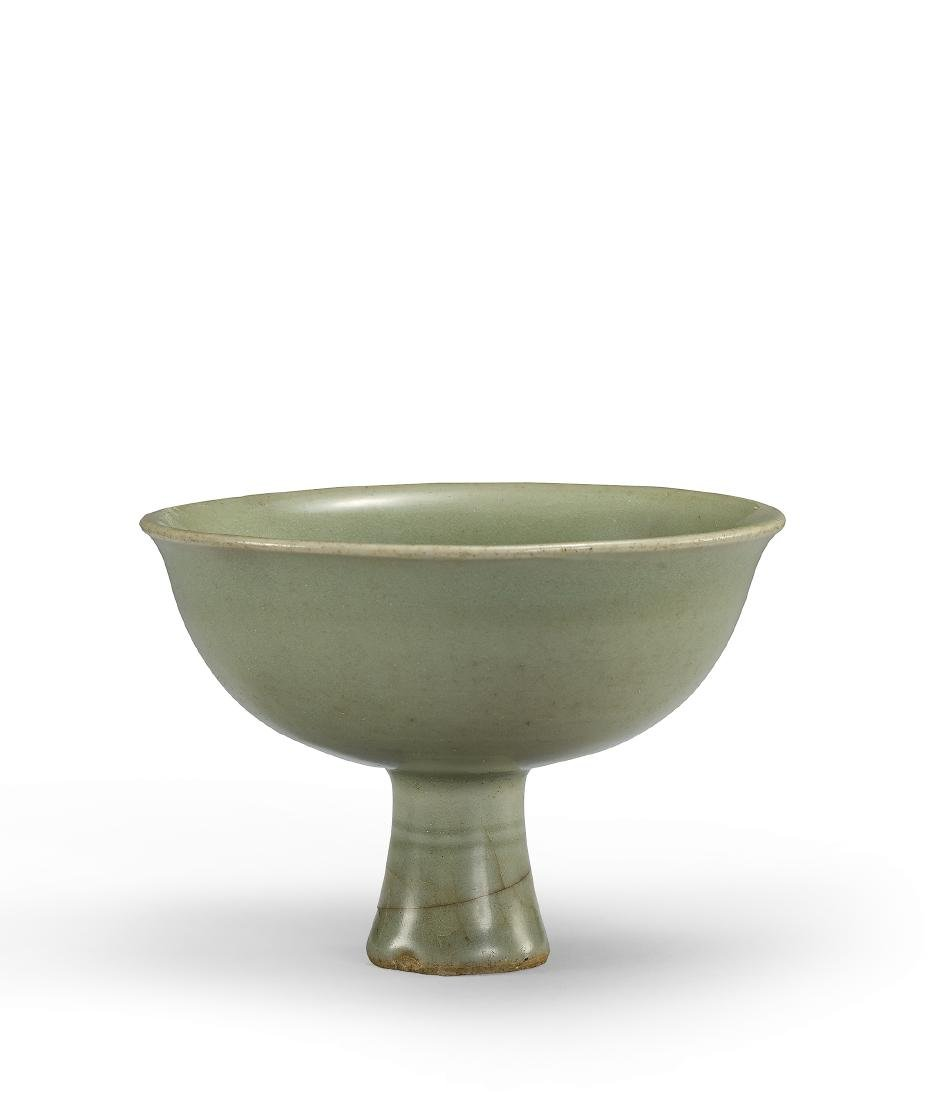 A Longquan Celadon-Glazed 'Peony' Stemcup Ming
