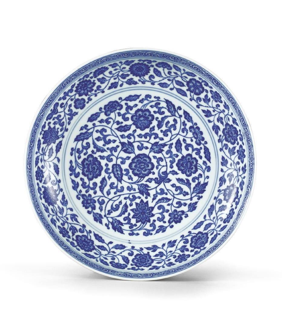 A Fine Blue and White Floral Dish Mark and