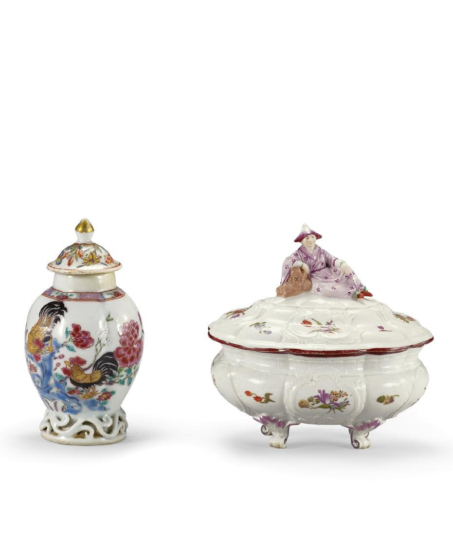 A Set of Two Famille-Rose 'Rooster' Jar with Cover and