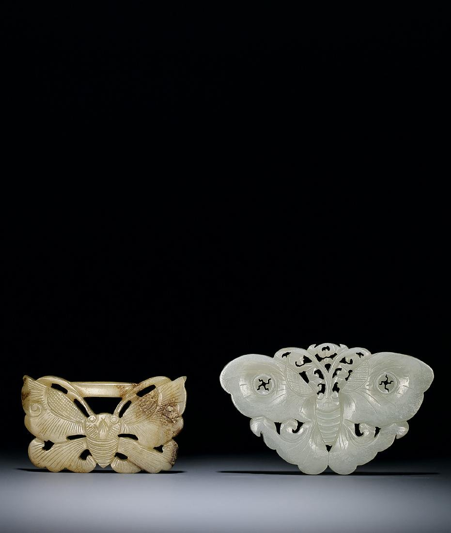 A Set of Two White Jade 'Butterfly' Pendants