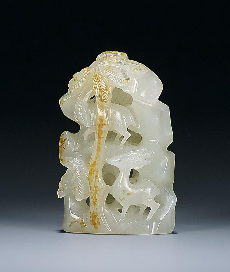 A White Jade 'Deer' Mountain Qing Dynasty