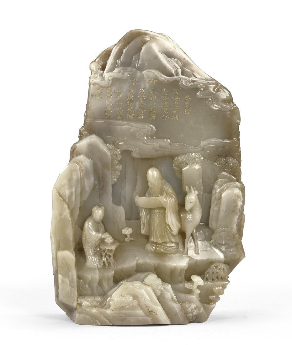 A Finely Carved and Inscribed Celadon Jade 'Shoulao'