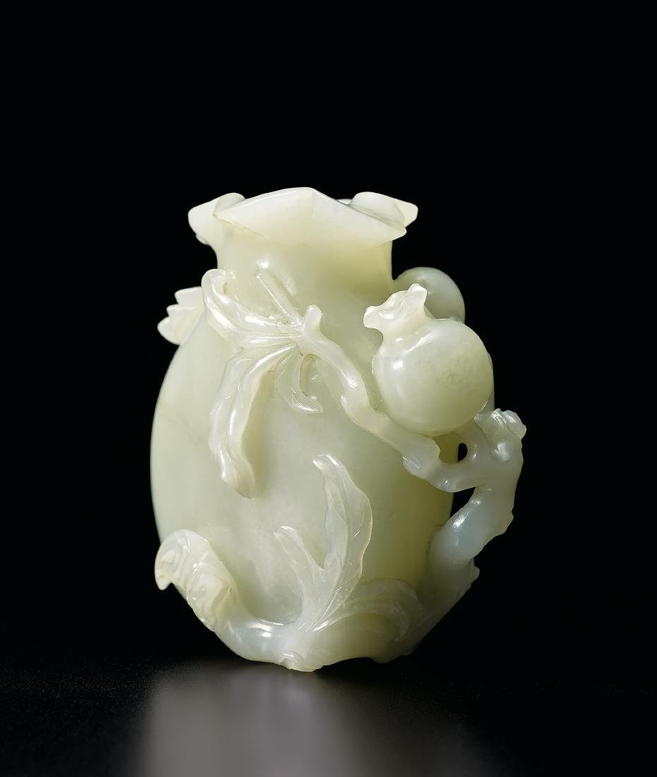 A Pale Celadon Jade 'Pomegranate and Cicada' - 2