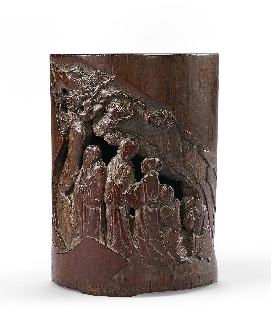 A Carved Bamboo Story Brushpot Qing Dynasty
