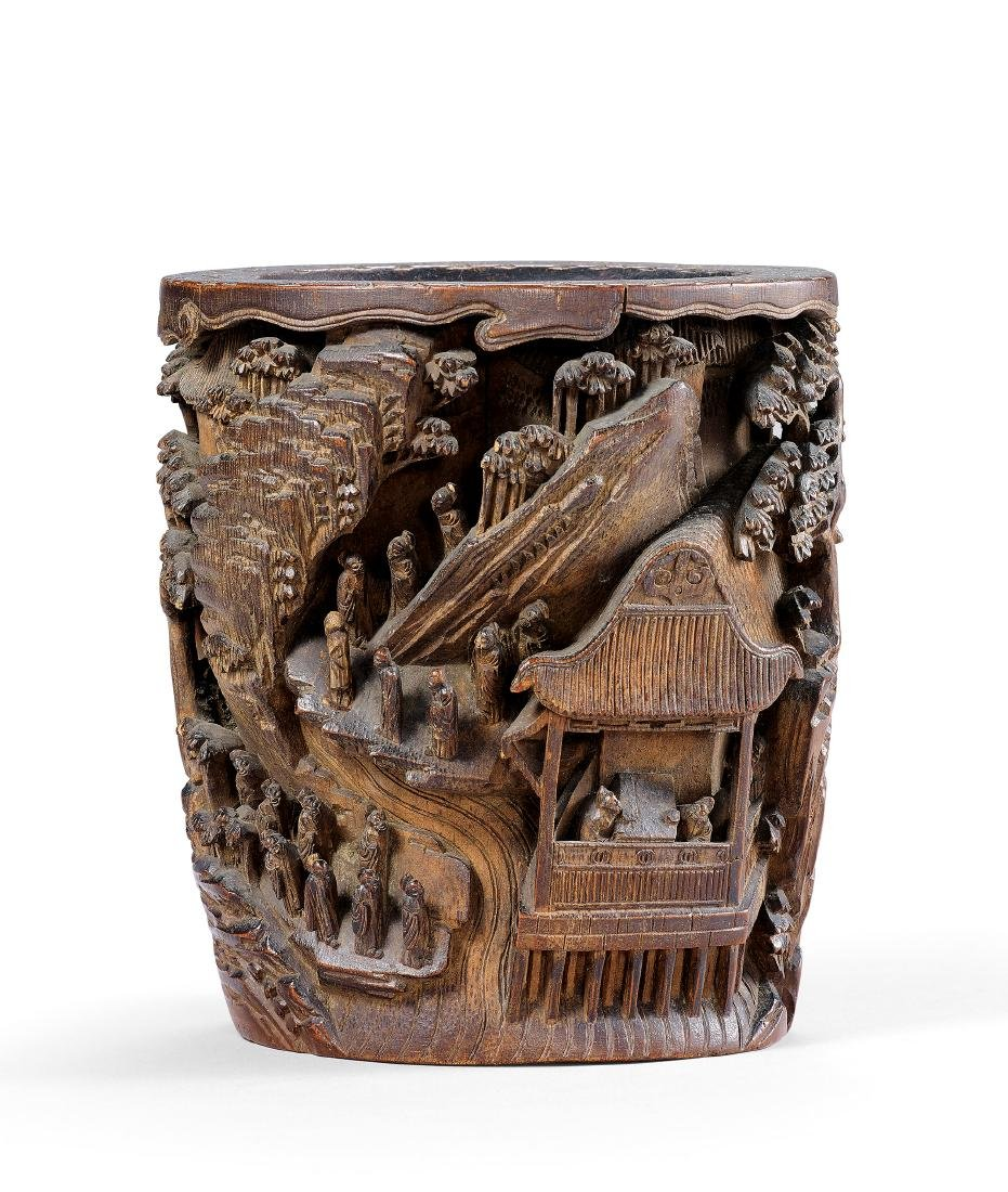 A Carved Bamboo 'Landscape' Brushpot Qing