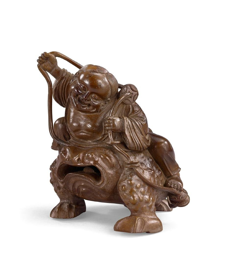 A Finely Carved Bamboo Root Figure of Liu Hai and