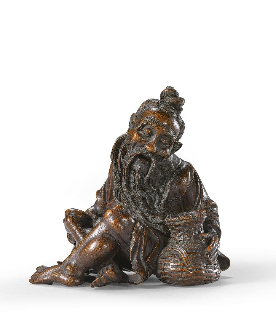A Finely Carved Bamboo Root Figure of Fisherman