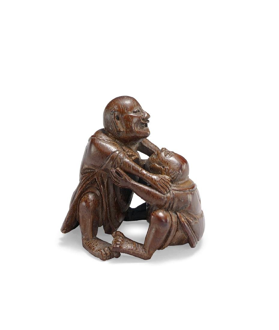 A Finely Carved Bamboo Figure of Fighting - 2