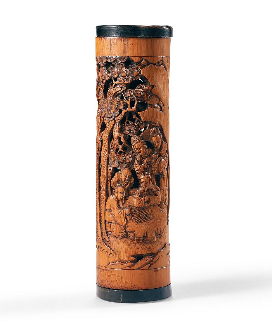 A Carved Bamboo 'Figure' Incense Holder Qing