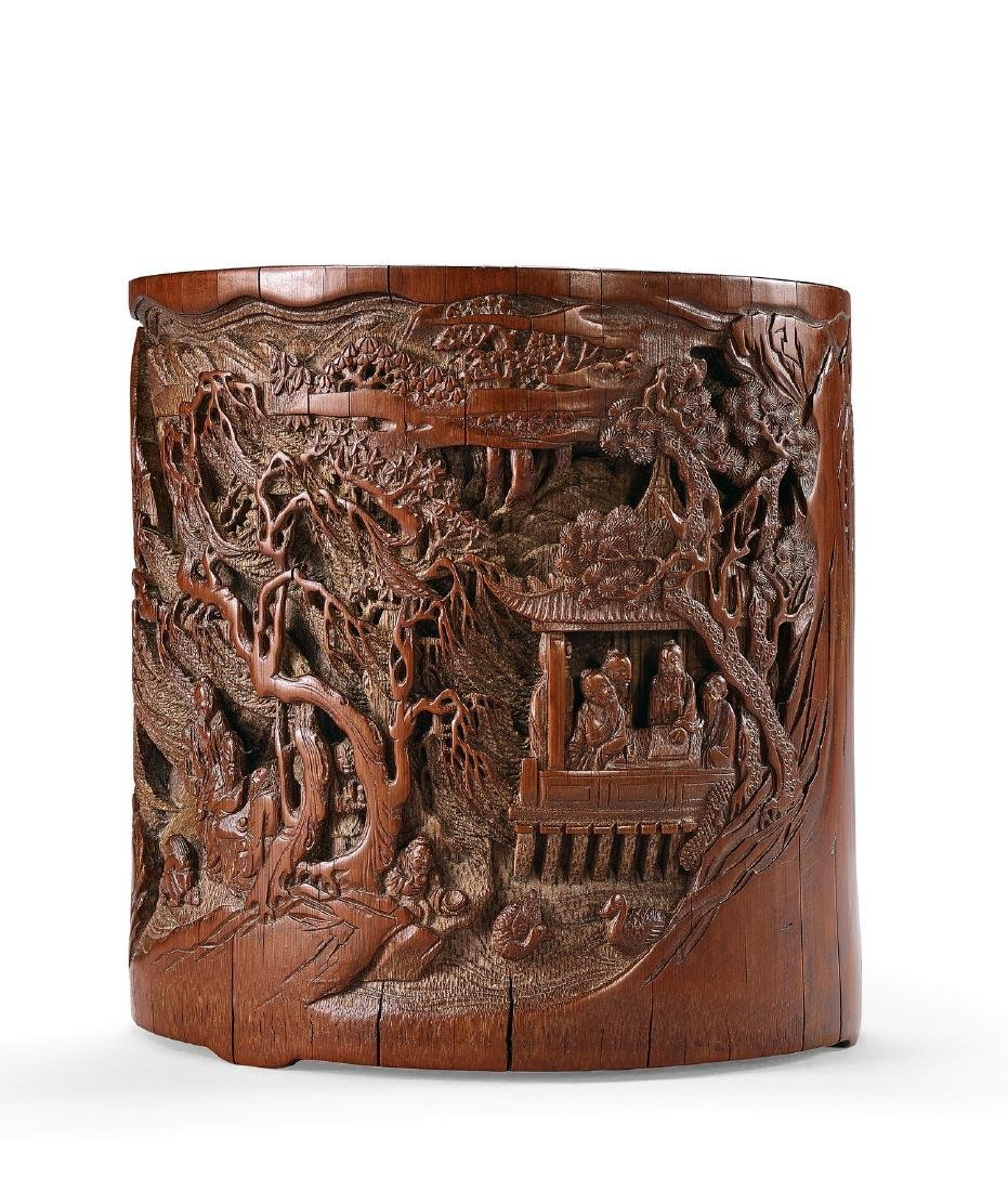 A Carved Bamboo 'Landscape and Figure' Brushpot