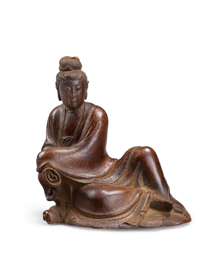 A Finely Carved Bamboo Figure of Guanyin Ming