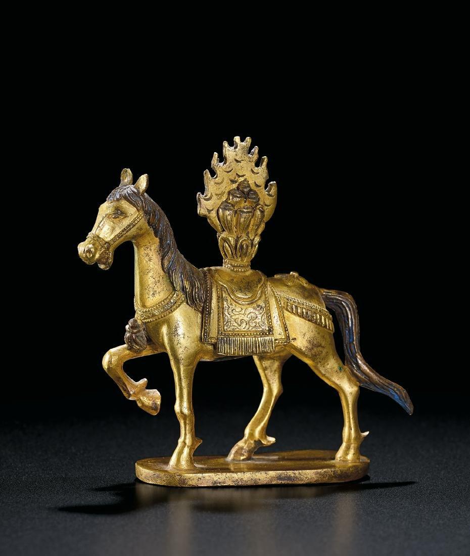 A Gilt-Bronze Buddhist Precious Horse Qing