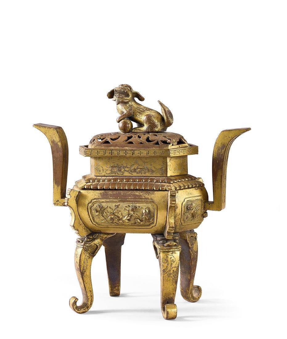A Gilt-Bronze 'Flowers' Rectangular Censer and