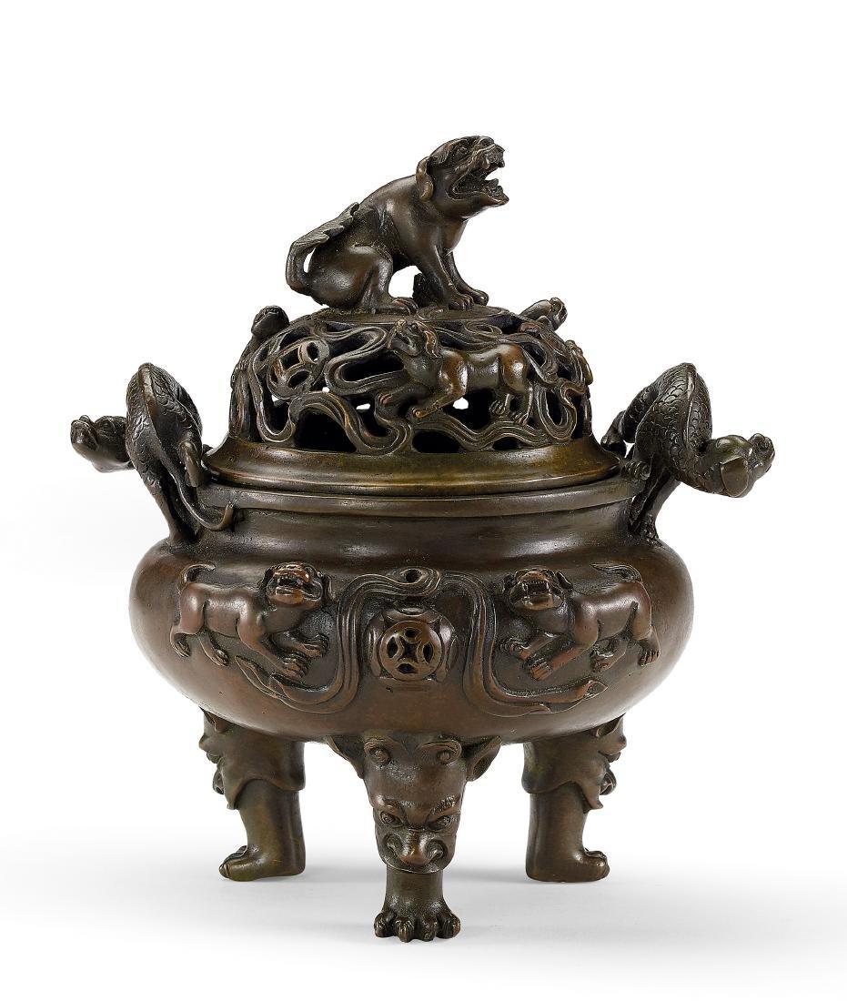 A Bronze 'Dragon' Tripod Censer and Cover Mark