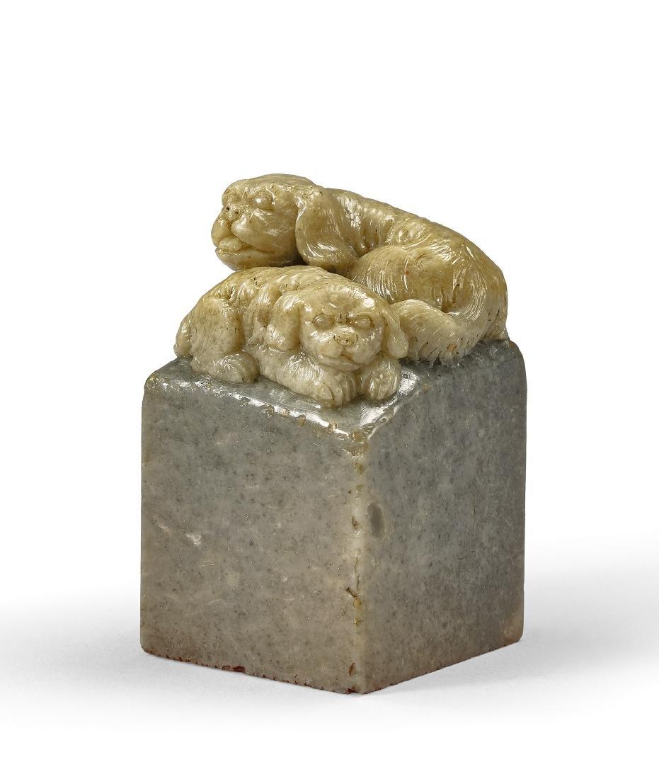 A Qingtian Stone 'Dogs' Seal by Lai Chu-Sheng