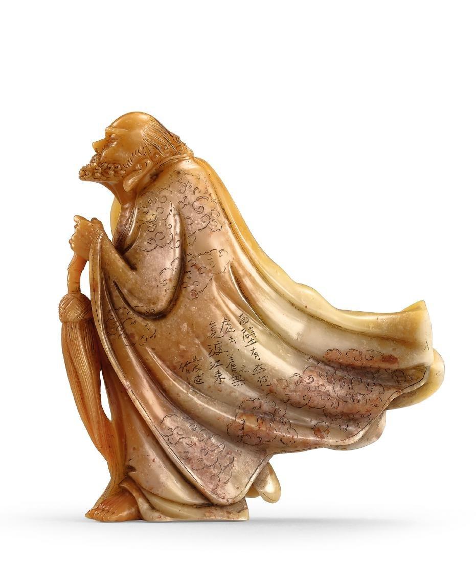 A Soapstone 'Bodhidharma' Ornament by Lin Fa-Shu
