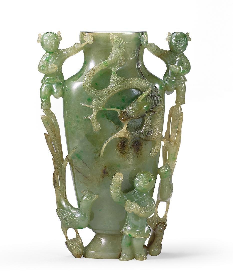 An Apple-Green Jadeite Flattened Baluster Vase