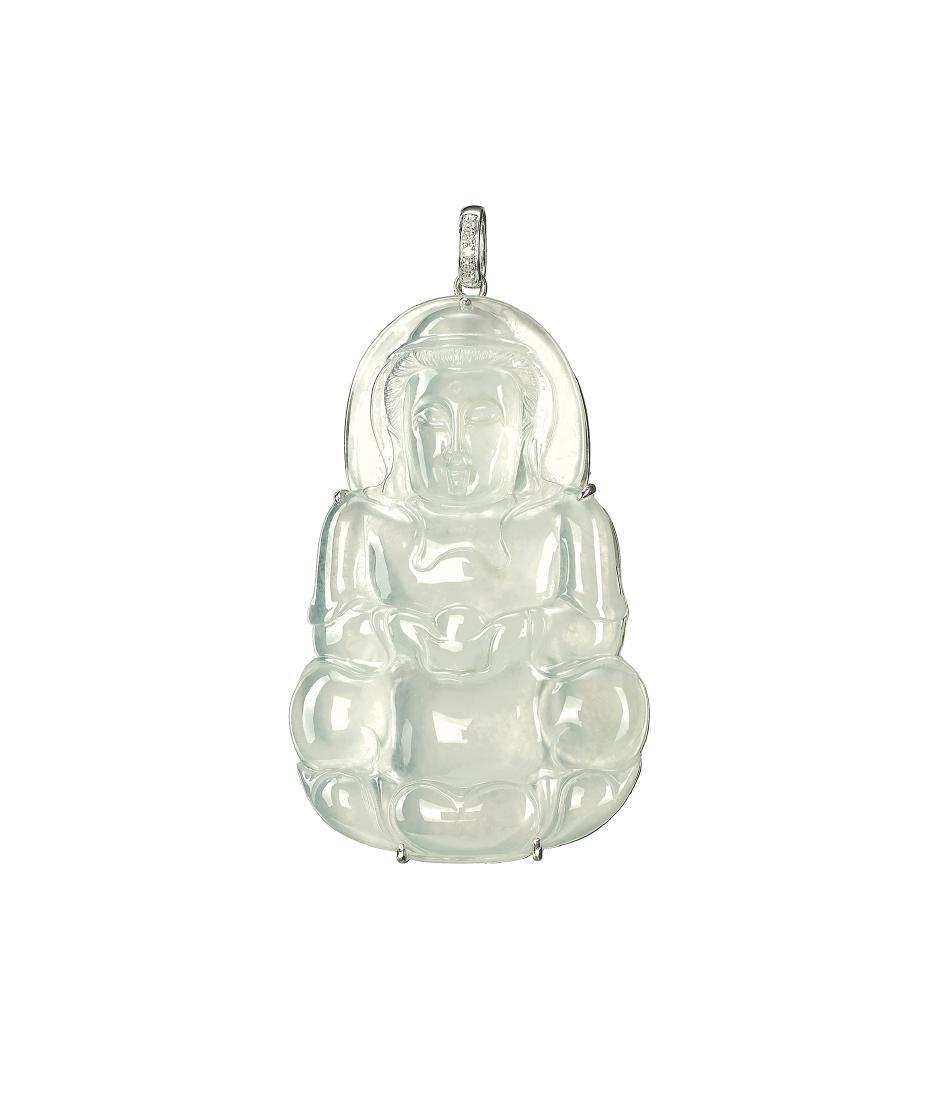 A GLASSY JADEITE 'GUANYIN' AND DIAMOND PENDANT