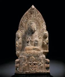 A RARE AND FINELY CARVED MARBLE STELE NORTHERN QI