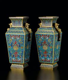 Bronze Cloisonne Enamel Vases, Qian Dynasty, Qianlong