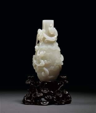 A Fine White Jade 'Dragon' Vase, 18c.