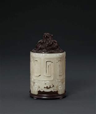 A Rare White Jade 'Buffalo' Incense Holder, Yuan/Ming