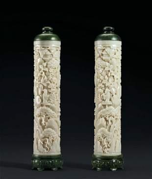 Pair of Pale Celadon Jade Incense Holders W/