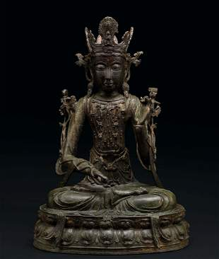 A Rare and Large Gilt-Lacquered Bronze Figure of