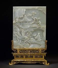 Exceptional Pale Celadon Jade Table Screen, Qianlong