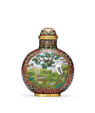 A Cloisonne Enamel 'Crane and Deer' Snuff Bottle, Qing