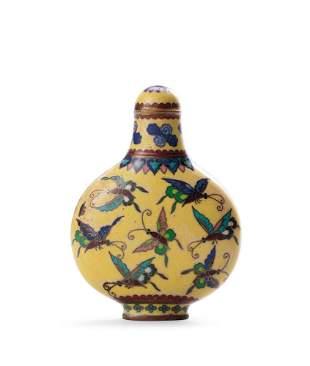 A Bronze Cloisonne Enamel 'Butterfly' Snuff Bottle,