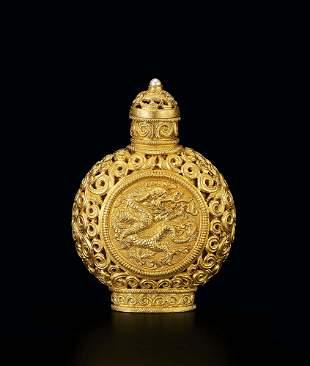 A Gold 'Dragon' Snuff Bottle, Qing Dynasty