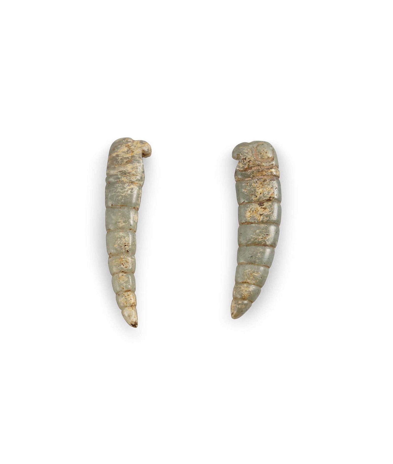 A Pair of Celadon Jade Carvings of Pupae of Cicadas,