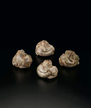 A Set of Four Jade Leopard-Shaped Weights, Han Dynasty