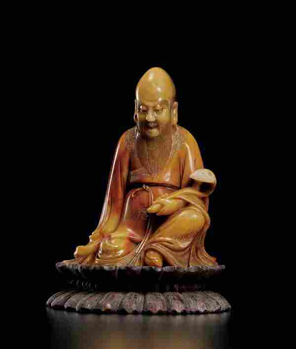 A Superb Soapstone Figure of Luohan, Early Qing Dynasty